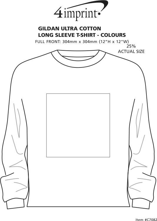 Imprint Area of Gildan Ultra Cotton LS T-Shirt - Screen - Colours