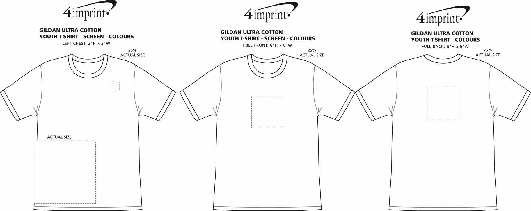Imprint Area of Gildan Ultra Cotton T-shirt - Youth - Screen - Colours