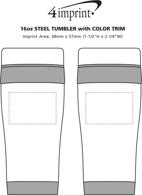 Imprint Area of Steel Tumbler with Colour Trim - 16 oz.
