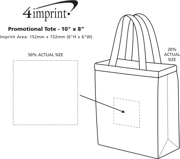 """Imprint Area of Promotional Tote - 10"""" x 8"""""""