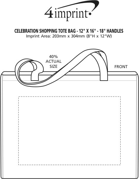 """Imprint Area of Promotional Tote - 12"""" x 16"""" - 18"""" Handles"""