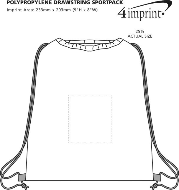 Imprint Area of Polypropylene Drawstring Sportpack