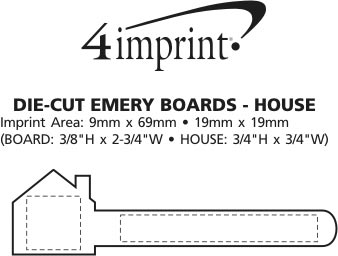Imprint Area of Die-Cut Emery Board - House