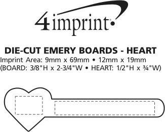 Imprint Area of Die-Cut Emery Board - Heart