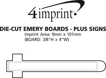 Imprint Area of Die-Cut Emery Board - Plus Sign