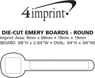 Imprint Area of Die-Cut Emery Board - Round