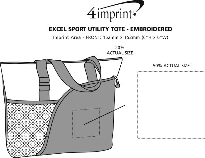 Imprint Area of Excel Sport Utility Tote - Embroidered