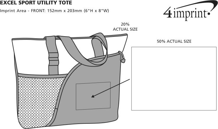 Imprint Area of Excel Sport Utility Tote