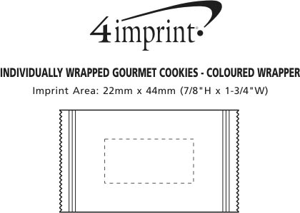 Imprint Area of Individually Wrapped Gourmet Cookies - Colour Wrapper