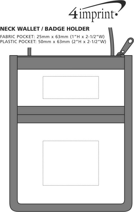 Imprint Area of Neck Wallet/Badge Holder