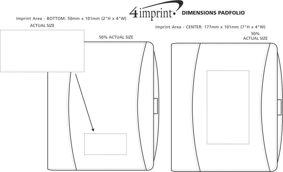 Imprint Area of Dimensions Padfolio