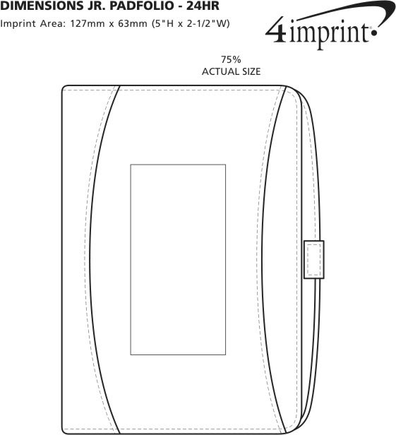 Imprint Area of Dimensions Jr. Padfolio - 24 hr