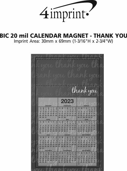 Imprint Area of Bic 20 mil Calendar Magnet - Medium - Thank You