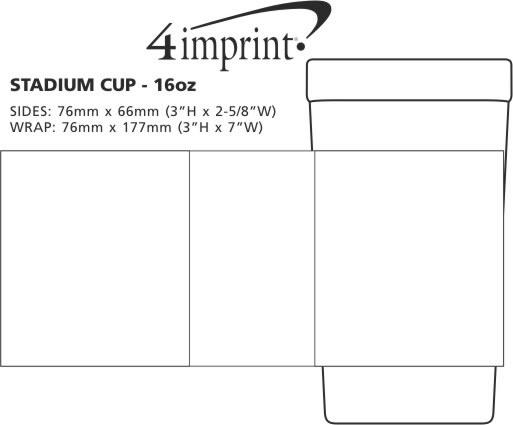 Imprint Area of Stadium Cup - 16 oz.