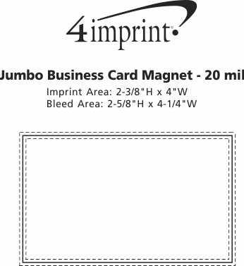 Imprint Area of Bic 20 mil Jumbo Business Card Magnet