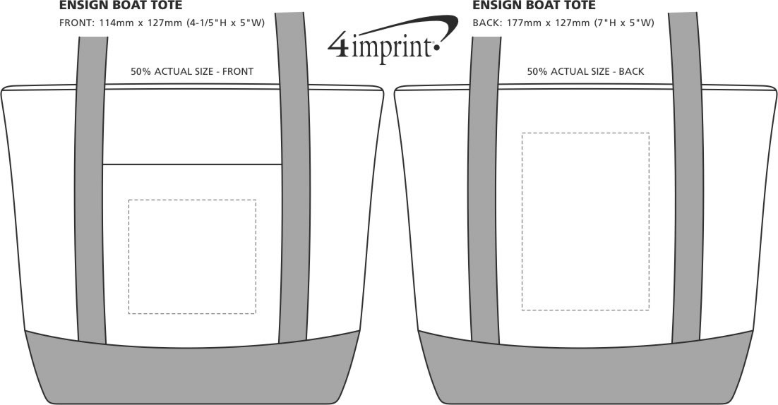 Imprint Area of Ensign Boat Tote
