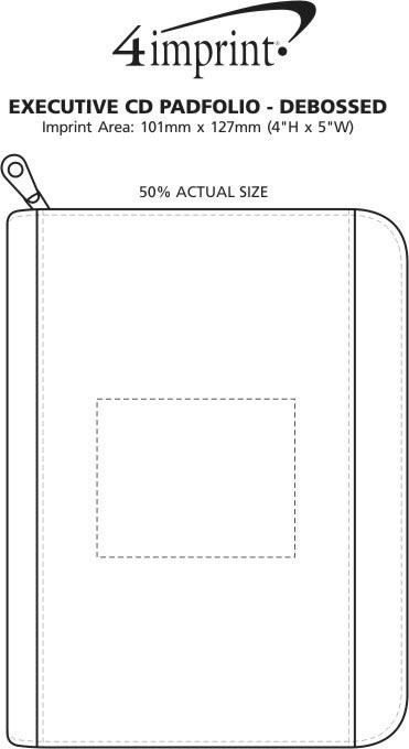 Imprint Area of Executive Portfolio with Notepad - Debossed