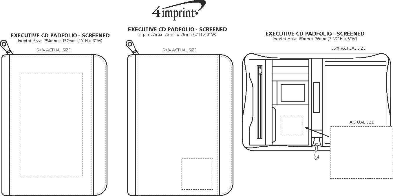 Imprint Area of Executive Portfolio with Notepad - Screen