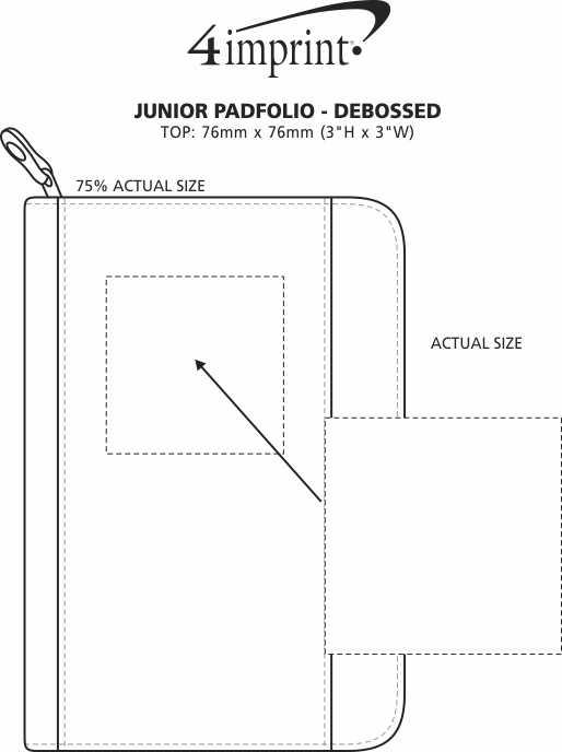 Imprint Area of Junior Portfolio with Notepad - Debossed