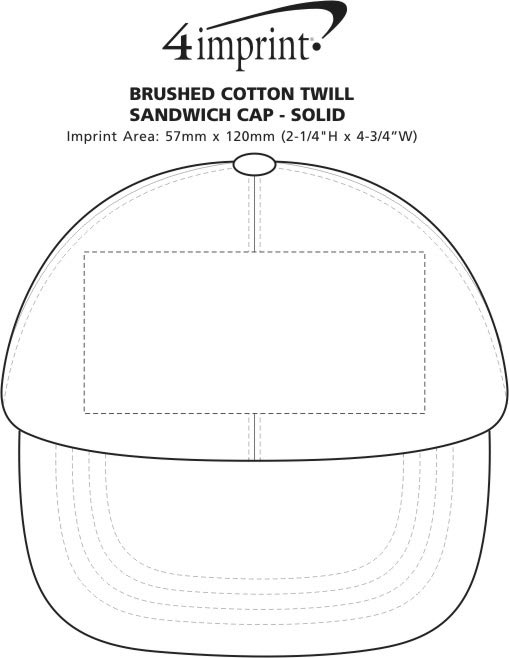 Imprint Area of Brushed Cotton Twill Sandwich Cap - Solid