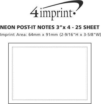 """Imprint Area of Neon Post-it® Notes 3"""" x 4"""" - 25 Sheet"""