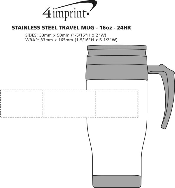 Imprint Area of Stainless Steel Travel Mug - 14 oz. - 24 hr