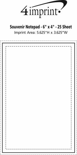 "Imprint Area of Bic Non-Adhesive Notepad - 6"" x 4"" - 25 Sheet"