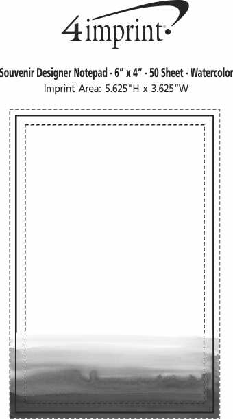 "Imprint Area of Bic Non-Adhesive Notepad - 6"" x 4"" - 50 Sheet - Watercolour"