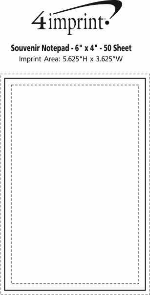 "Imprint Area of Bic Non-Adhesive Notepad - 6"" x 4"" - 50 Sheet"