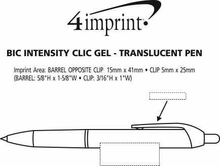 Imprint Area of Bic Intensity Clic Gel Rollerball Pen - Translucent
