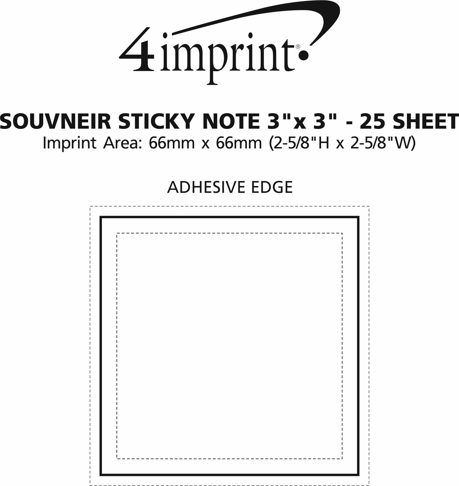 "Imprint Area of Bic Sticky Note 3"" x 3"" - 25 Sheet"