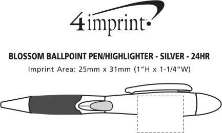 Imprint Area of Blossom Pen/Highlighter - Silver - 24 hr