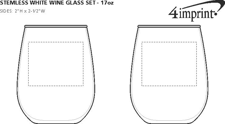 Imprint Area of Stemless White Wine Glass Set - 17 oz.