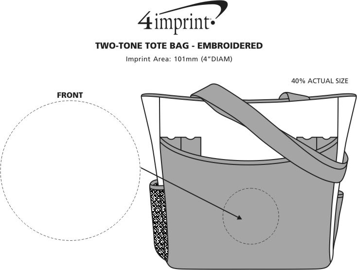 Imprint Area of Two-Tone Tote Bag - Embroidered