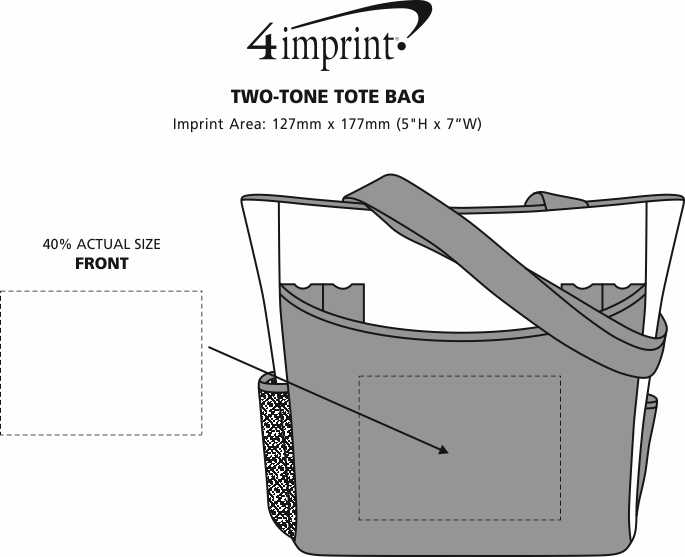 Imprint Area of Two-Tone Tote Bag