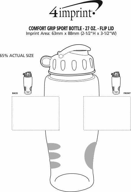 Imprint Area of Comfort Grip Sport Bottle with Flip Lid - 27 oz.