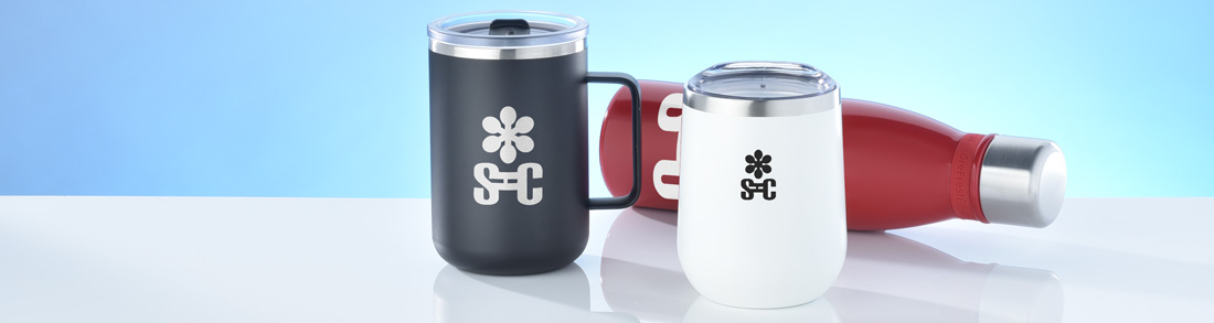 Promotional Drinkware that include a wine tumbler, mug and bottle