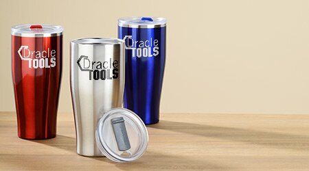 Promotional drinkware products that include travel coffee mugs