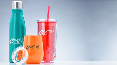 Promotional drinkware products that include aluminium water bottle, wine tumbler and acrylic cups with straw