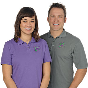 Sierra and Josh in Embroidered Polos