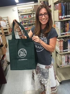 Customer photo from Angela of our Jumbo Grocery Tote